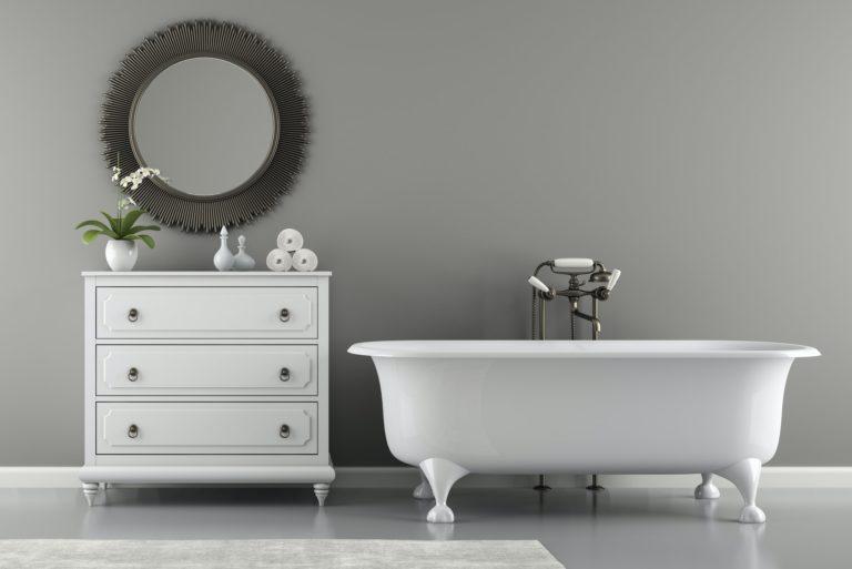 Interior of classic bathroom with stylish bath 3D rendering